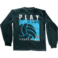 Play More Volleyball Long Sleeve T-shirt - Navy Blue - Lucky Dog Volleyball