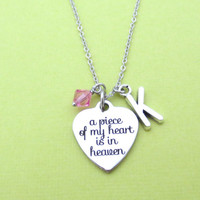 Memorial, Heaven, a peace of my heart is in heaven, Silver, Necklace, Lost, Dog Lost, Death, Person Lost, Meaningful, Message, Gift, Jewelry