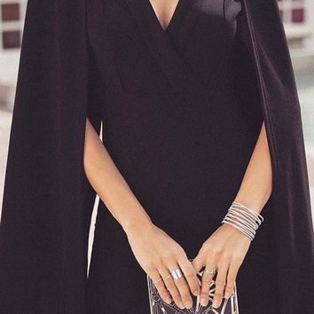 Super Girl Black Long Sleeve Cape Cross Wrap Bodycon Mini Dress