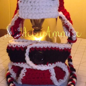 Santa Aviator hat and diaper cover