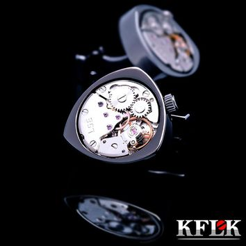 KFLK jewelry shirts cufflinks for mens Brand Black watch movement mechanical cuff links Buttons Male High Quality  Free Shipping
