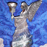 International Silver I.S.Co. Silverplate Christmas Angel Silohuette Candle Holder Christmas 9""