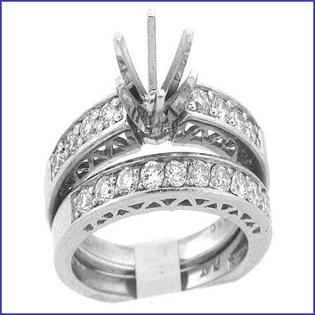 Gregorio Platinum Diamond Engagement Ring and Band R-117
