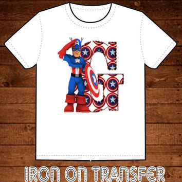 Captain America Personalized Customized Initial or Name Printable Digital Iron On Transfer Clip Art DIY Tshirts Emailed