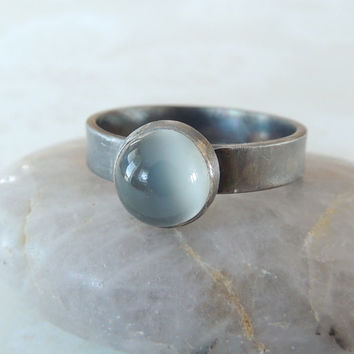 Grey Moonstone Ring, Sterling Silver Ring, Moonstone Jewelry, Wide Ring Band, Mystic Silver Ring, Brushed Ring, Oxidized Ring, Black Ring