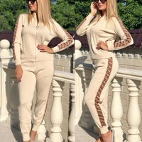 FENDI Trending Women Casual Stylish F Letter Long Sleeve Top Pants Set Two-Piece