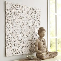 White Carved Wall Decor