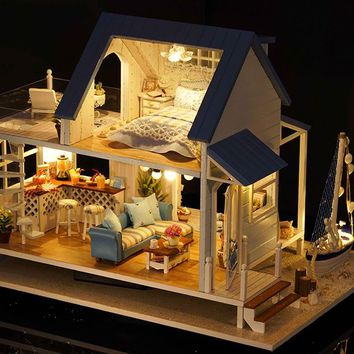CuteRoom Caribbean Beach Cottage DIY Wooden Dollhouse Miniature Kit With Lights and Music