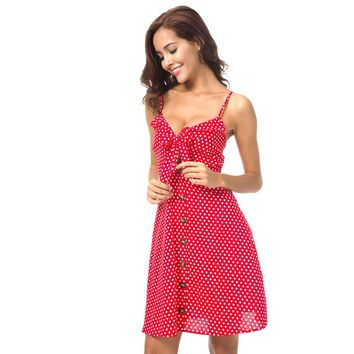 Red Button Knot Polka Dot Shift Dress