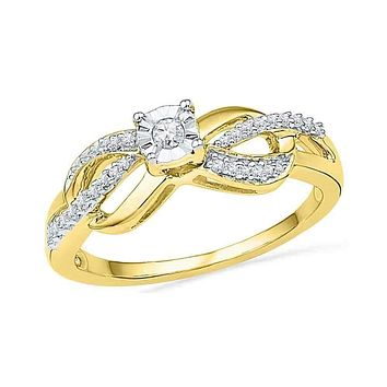 10kt Yellow Gold Women's Round Diamond Solitaire Infinity Promise Bridal Ring 1/6 Cttw - FREE Shipping (US/CAN)