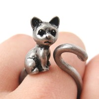 Kitty Cat Left Facing Animal Wrap Around Ring in Silver - Sizes 5 to 9 Available