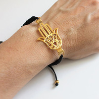 Hamsa Bracelet Hand of Fatima with black leather cord Kabbalah Gold Coated