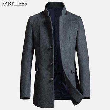 Long Wool Trench Coat Men 2017 New Wool & Blends Winter Men Overcoat Casual Mens Pea Coat Jacket Male Coats Manteau Homme Hiver