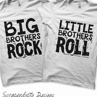 Iron on Brothers Shirt PDF - Rock and Roll Iron on Transfer / Big Brothers Shirt / Little Brothers Tee / Rock and Roll Kids Clothing IT305-C
