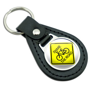 Share The Road Bicycle Basic Yellow Sign Black Leather Keychain