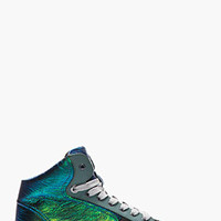 Lanvin Green And Blue Iridescent Leather Sneakers for men | SSENSE