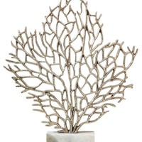Silver Coral Sculpture on Marble Stand