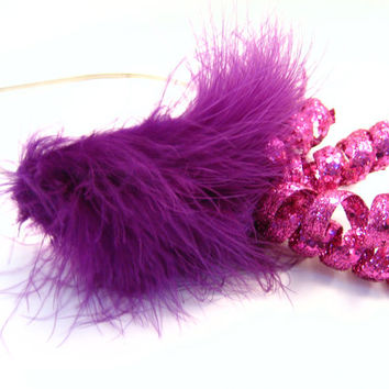 Bachelorette Photo Prop Tiara - Raspberry & Pink Feather Sprial Headband - New Year's Eve - Fascinator - Steampunk - Wedding - Bride