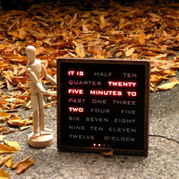 Wood Word Clock - electronic clock, moderrn led wood clock, desk clook, red led,  handcrafted wood clock