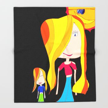 Lets Play | Kids Painting Throw Blanket by Azima
