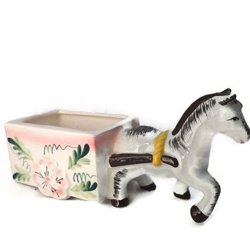 Donkey Cart Ceramic Planter - Collectible Figurine, Lipstick Holder, Decorative Accessory, Hand Painted, Made in Japan, Mid Century