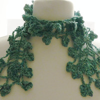 Sage green scarf, varigated necklace scarf, recycled yarn scarf, flower scarf, sage green cotton scarf, UK shop