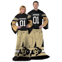 Colorado Golden Buffaloes NCAA Adult Uniform Comfy Throw Blanket w- Sleeves