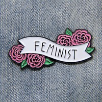 """Feminist"" Quote Banner Enamel Pin with Roses"