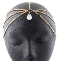 Goldtone with Clear Tear Drop Shaped Multifaceted Center Stone Head Chain
