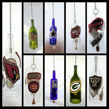 Sports Team Upcycled/Recycled Hanging Hurricane Wine Bottle Lanterns