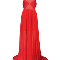 Sleeveless Sheer Mesh Cutou Ruffle Floor Length Dress