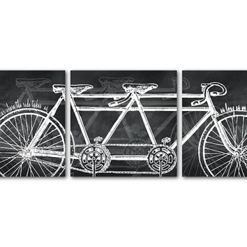 It doesn't matter where the road takes us, as long as we pedal there together - Vintage Art Print - Tandem Bike Wall Art Trio - Room Decor