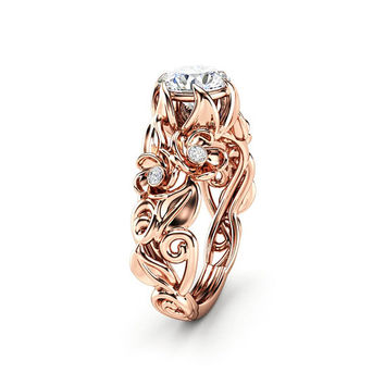 Moissanite Engagement Ring Rose Gold Engagement Ring Flower Moissanite Ring