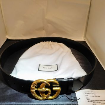 Auth Gucci Leather Belt /w Double G Buckle /w Snake 95cm