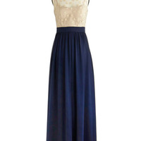 ModCloth Long Sleeveless Maxi Poetic Stage Presence Dress