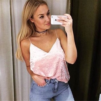 KL787 Bralet women sexy deep V low cut summer top fashion velvet beach tank top solid backless harness vest