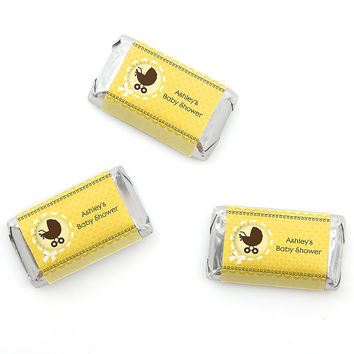 Neutral Baby Carriage - Personalized Baby Shower Mini Candy Bar Wrapper Favors - 20 ct