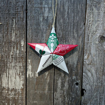 Upcycled Starbucks Share the Love Coffee Cup Star Ornament - The Coffeehouse Collection