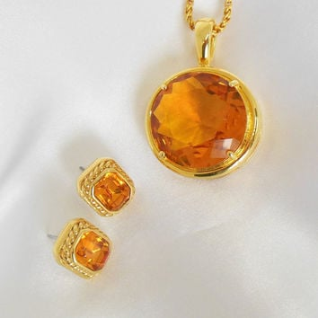 Joan Rivers Vintage Necklace with Pierced Earrings Topaz Glass Center