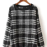 Black and White Plaid Long Sleeve Sweatshirt