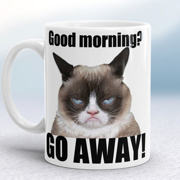 Grumpy Cat Mug - Good Morning - Go away! Fun rude mug, Hilarious gift mug, Funny Grumpy Cat Mug, Gift for Burthday, Gift for Boss, Cute mug