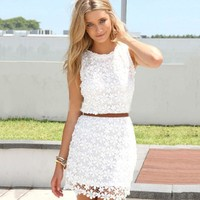 new summer white red green cute sundress solid colors elegant floral lace Crochet women dresses zipper short dress
