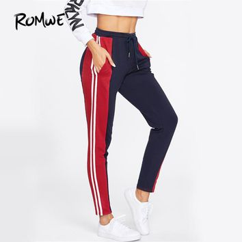ROMWE Cut And Sew Skinny Sweatpants Multicolor Casual Tied High Waist Women Autumn Pants 2017 Drawstring Stripe Pockets Pants
