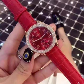 PEAP O054 Omega two-stitch and half-super-hegemony series women's wristwatch Red