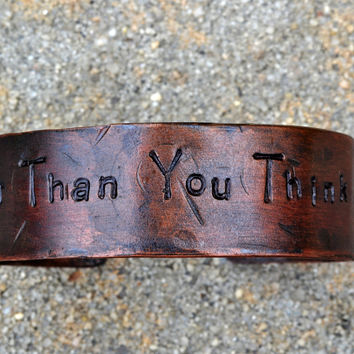 "Personalized Copper Wrist Cuff, 'Stronger Than You Think"" Encouragement Bracelet- Unisex, Dark Copper Finish"