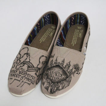 Authentic Toms Marauder's Map Khaki Color Harry Potter Shoes