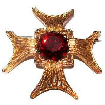 "Weiss Maltese Cross Brooch Signed Red Rhinestones Gold Metal Festive 2"" Vintage"