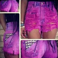 Beaded High Waist Denim Jeans Shorts Pants
