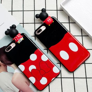 3D Cute Girl Mickey Minnie Mouse Case For iPhone 6 Plus Cartoon Cases For iphone 7 6s Plus Soft Silicon TPU Case Capa Fundas