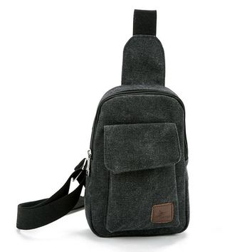 New Arrival Solid Vintage Men's Messenger Bags Canvas Business Bags For Man Large Capacity Chest Bag